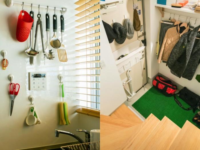 (左)キッチン用品は見せる収納。(右)玄関の扉後ろも効率的に使われている。