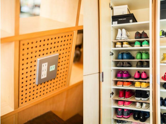 靴箱はもともとあった棚に対して靴が大過ぎたため、棚板を追加した。