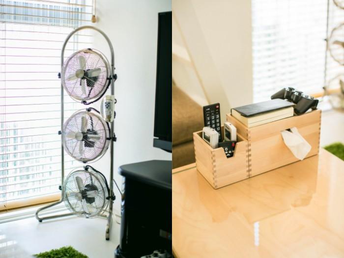 (左)お気に入りの扇風機は窓際に。(右)リモコンもナチュラルカラーの収納ボックスで一括管理。