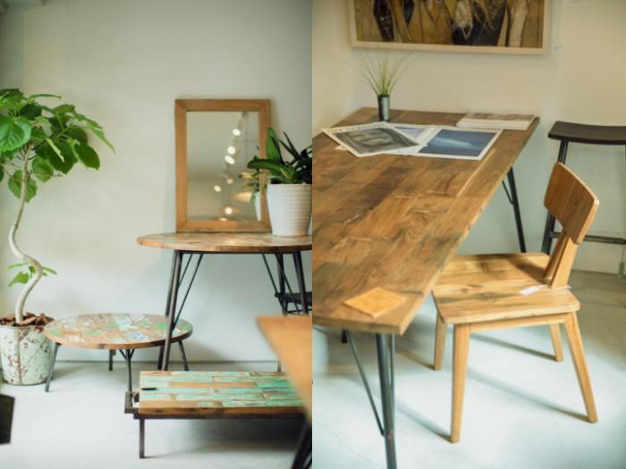 左;ペイントが残る廃材を利用した家具 右;オリジナルダイニングテーブルと椅子